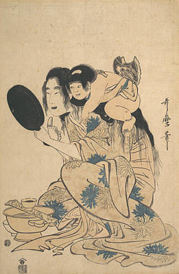 Drawing - Yamauba Blackening Her Teeth And Kintoki by Kitagawa Utamaro