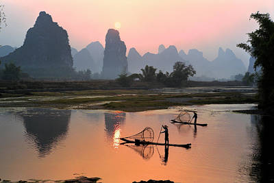 Beauty In Nature Photograph - Yangshuo Li River At Sunset by Kingwu