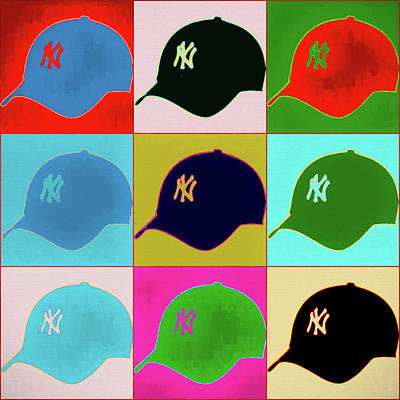 Athletes Royalty-Free and Rights-Managed Images - Yankees Ball Cap Pop Art by Dan Sproul