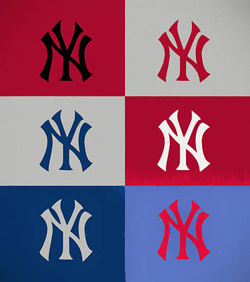 Athletes Royalty-Free and Rights-Managed Images - Yankees Pop Art Panels by Dan Sproul