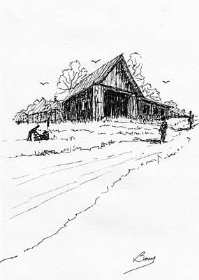Drawing - Yard-work On The Farm by Barry Jones