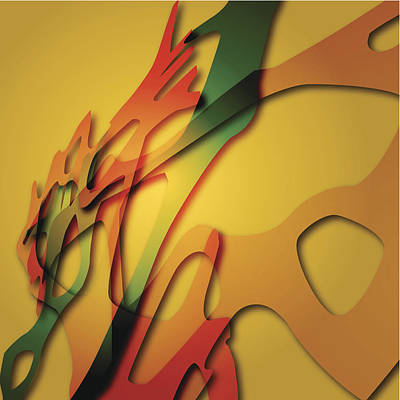 Digital Art - Yellow Abstract Shape Background by Naqiewei