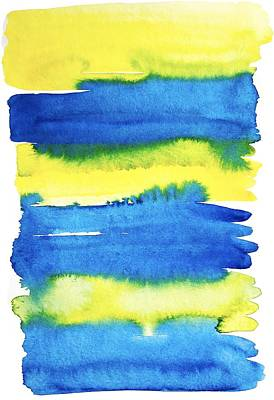 Painting - Yellow And Blue Brush Stroke Stripes In Watercolor By #mahsawatercolor by Mahsa Watercolor Artist