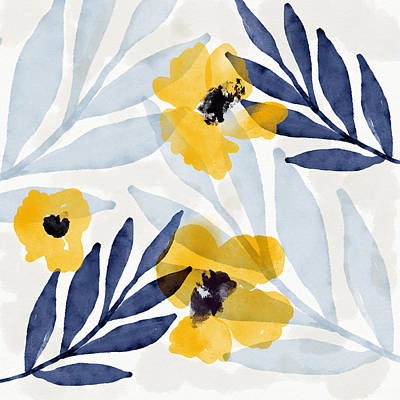 Mixed Media - Yellow And Navy 2- Floral Art By Linda Woods by Linda Woods