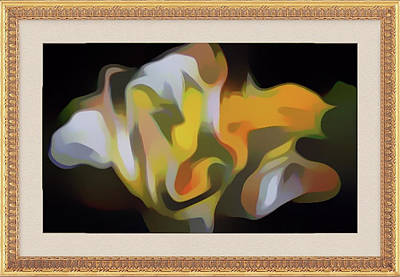 Digital Art - Yellow And White Bouquet Framed In Gold by Clive Littin
