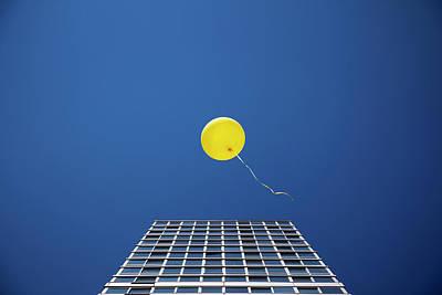 Freedom Photograph - Yellow Balloon Floating Past Single by Thomas Jackson