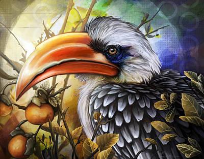 Digital Art - Yellow Billed Hornbill by Cass Womack