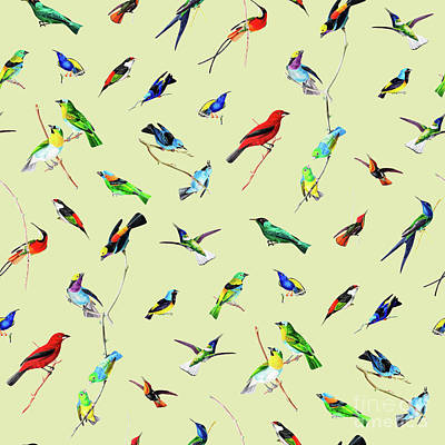 Digital Art - Yellow Birds Motif Seamless Pattern by Sharon Mau