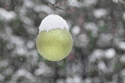 Photograph - Yellow Christmas Ball Outside, Covered By Snow. Outside Snowy Wi by Cristina Stefan