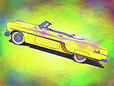 Digital Art - Yellow Convertable by Rick Wicker