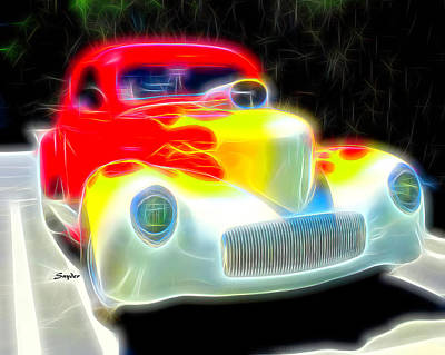 Photograph - Yellow Flames On A Red Hot Car by Floyd Snyder