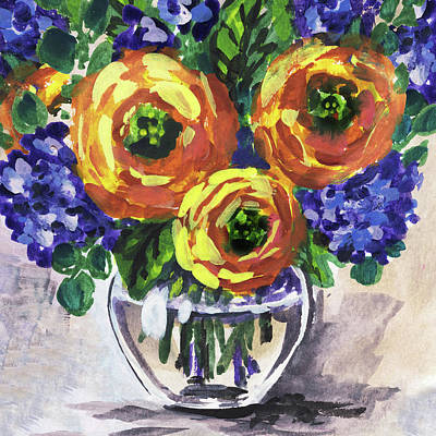 Painting - Yellow Flowers Bouquet Floral Impressionism  by Irina Sztukowski