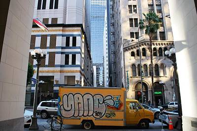 Photograph - Yellow Graffiti Truck Downtown La by Matt Harang