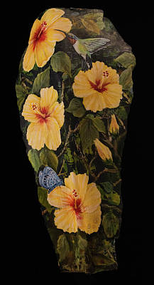 Painting - Yellow Hibiscus And Friends by Nancy Lauby
