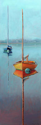 Painting - Yellow Hull On Menemsha Pond by Trina Teele