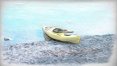 Digital Art - Yellow Kayak by Leslie Montgomery