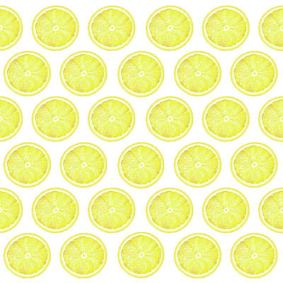 Mixed Media Royalty Free Images - Yellow Lemon Slice Pattern 1 - Tropical Pattern - Tropical Print - Lemon - Fruit - Yellow Royalty-Free Image by Studio Grafiikka