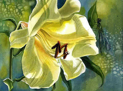 Painting - Yellow Lily With Dragonfly by Alfred Ng