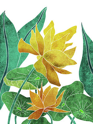 Lilies Mixed Media - Yellow Lotus flower - Botanical, Floral, Tropical Art - Modern, Minimal Decor - Yellow, Green by Studio Grafiikka