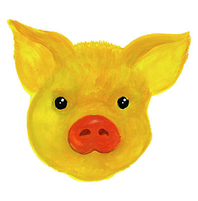 Painting - Yellow Pig by Dobrotsvet Art