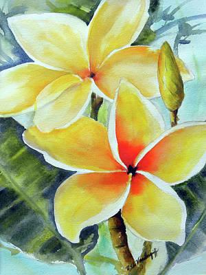 Painting - Yellow Plumeria by Hilda Vandergriff