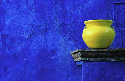 Latin America Photograph - Yellow Pot And Blue Wall by Douglas Steakley
