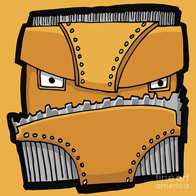 Digital Art - Yellow Robot Head 01 by Sean McMenemy