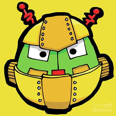 Digital Art - Yellow Robot Head 6 by Sean McMenemy