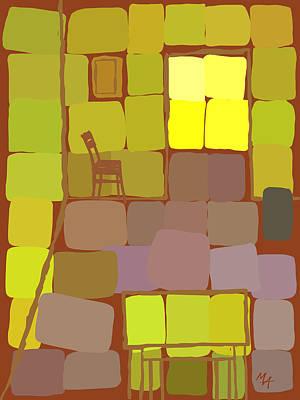 Art Print featuring the digital art Yellow Room by Attila Meszlenyi