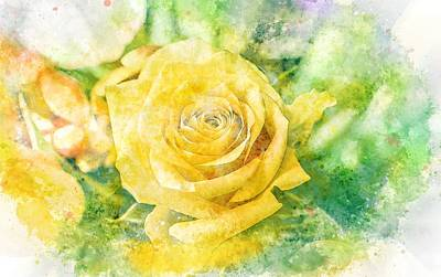 Painting - Yellow Rose In Pastel Watercolour  by Shabby Chic and Vintage Art