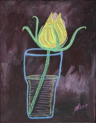 Painting - Yellow Rose Original Painting by Sol Luckman