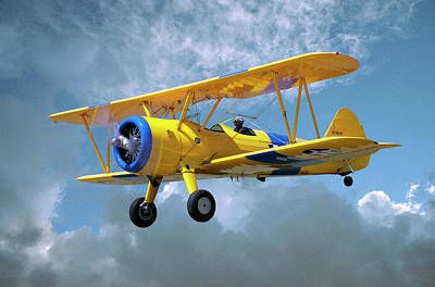 Photograph - Yellow Stearman 5yp Bi-plane Flying In by Diane Miller