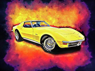 Digital Art - Yellow Stingray by Rick Wicker