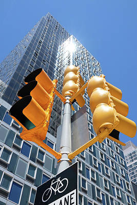 Photograph - Yellow Stop Light by Cate Franklyn