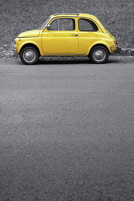 Photograph - Yellow Vintage Car On Grey,rome Italy by Romaoslo