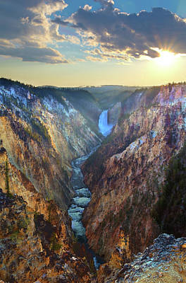 Photograph - Yellowstone Lower Falls From Artists by Andrew E. Russell