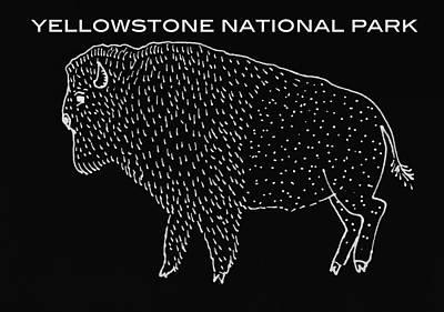 Yellowstone Drawing - Yellowstone National Park by Aaron Geraud
