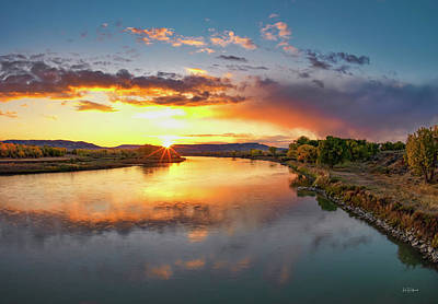 Photograph - Yellowstone River Sunset by Leland D Howard