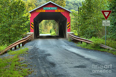 Photograph - Yield At The Bistline Covered Bridge by Adam Jewell