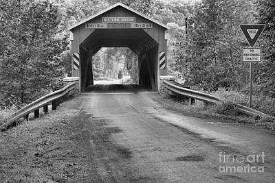 Photograph - Yield At The Bistline Covered Bridge Black And White by Adam Jewell