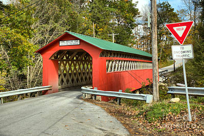 Photograph - Yield At The Chiselville Covered Bridge by Adam Jewell