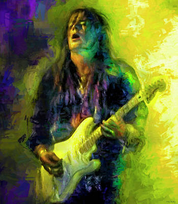 Musicians Mixed Media Royalty Free Images - Yngwie Malmsteen Guitarist Royalty-Free Image by Mal Bray