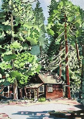 State Word Art - Yosemite Cabin - Wawona  by Luisa Millicent