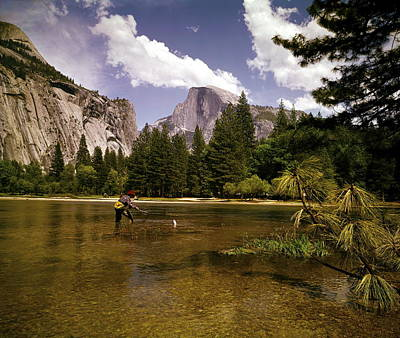 Photograph - Yosemite Fly Fishing by Tom Kelley Archive