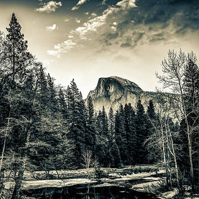 Landscapes Royalty-Free and Rights-Managed Images - Yosemite Half Dome Mountain Landscape in Sepia 1x1 by Gregory Ballos