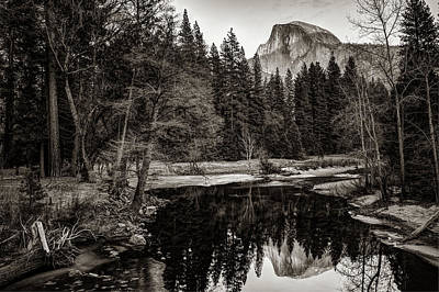 Photograph - Yosemite Half Dome Mountain Landscape Reflection - Sepia by Gregory Ballos