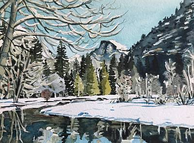 State Word Art - Yosemite Valley - December  by Luisa Millicent