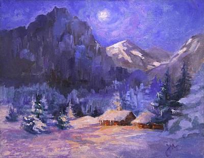 Painting - Yosemite Snowy Night by Jeri McDonald