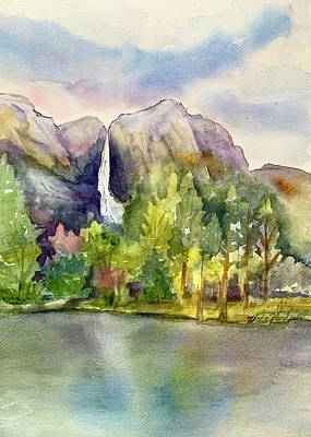 Painting - Yosemite Waterfalls by Hilda Vandergriff