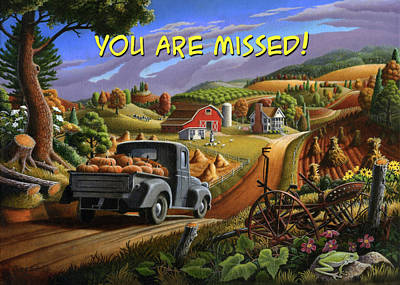 Painting - You Are Missed Greeting Card - Old Truck With Pumpkins Fall Farm Landscape by Walt Curlee